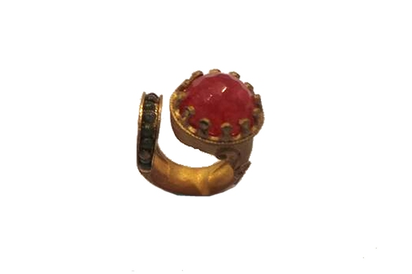 Ottaman Hands Stone and Wrap Ring Red and Tiger Eye